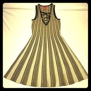 A-Line Dress Plunge Lace Up Neckline